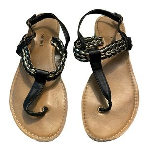 Classified Black Gold Braided Ankle Strap Sandal 7